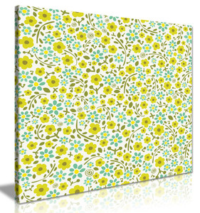 Abstract Floral Pattern Yellow & Teal Flowers Canvas
