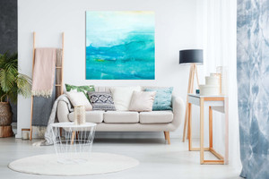 Abstract Modern Art Teal Watercolour Painting Canvas