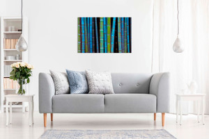 Abstract Blue Bamboo Forest Canvas