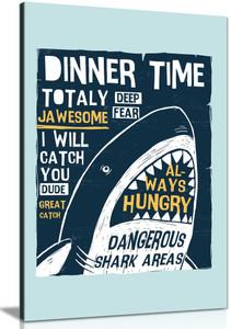 Boys Kids Nursery Bedroom Hungry Shark Canvas