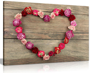 Dried Heart Shaped Roses Rustic Canvas