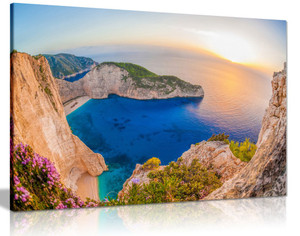 Beach With Shipwreck Against Sunset On Zakynthos Landscape Canvas