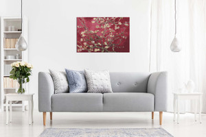 Floral Canvas Maroon Van Gogh Blossoming Almond Tree Canvas