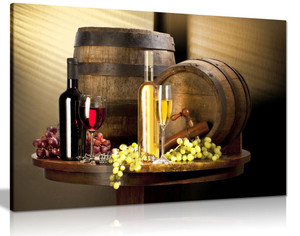 Wine With Grape For Kitchen Food Canvas Wall Art Picture Print
