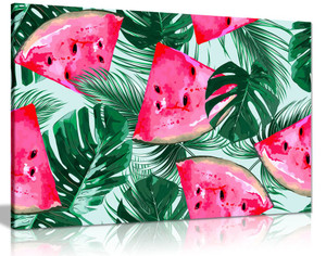 Tropical Watermelon Palm Jungle Botanical Canvas Wall Art Picture Print