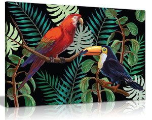 Tropcal Birds & Plants Canvas Wall Art Picture Print