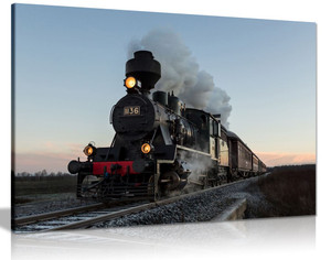 Train With Gray Smoke Steam Trains Canvas Wall Art Picture Print