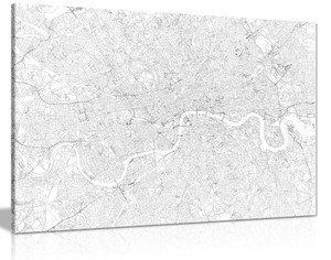 Street Of London Black & White Canvas Wall Art Picture Print