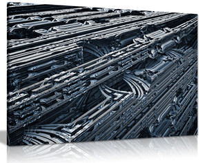 Steampunk Metallic Landscape Black & White Canvas Wall Art Picture Print