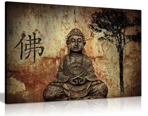 Religion Buddha In Grotto With Chinese Fo Religion Canvas Wall Art Picture Print