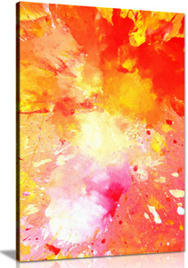 Pink Yellow & Orange Abstract Painting Canvas Wall Art Picture Print