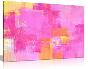 Pink Yellow Abstract Painting Canvas Wall Art Picture Print