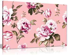 Pink Botanical Roses Shabby Chic Vintage Canvas Wall Art Picture Print
