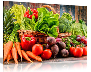 Organic Vegetables Kitchen Canvas Wall Art Picture Print
