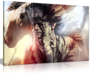 Native American Indian Warrior Chief Horse Canvas Wall Art Picture Print