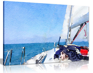 Nautical Yacht Painting Canvas Wall Art Picture Print