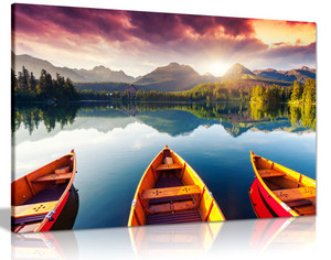 Mountain Landscape Lake Sunset Three Boats Trees Canvas Wall Art Picture Print