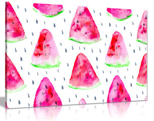 Modern Watermelon Pattern Canvas Wall Art Picture Print