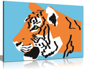 Modern Orange Tiger Illustration On Blue Background Canvas Wall Art Picture Print