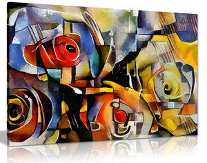 Modern Flower Cubism Style Canvas Wall Art Picture Print