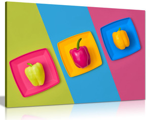 Minimal Colourful Bright Peppers Kitchen Canvas Wall Art Picture Print