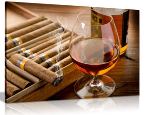 Man Cave Brown Liquor In Cup With Cigar Canvas Wall Art Picture Print