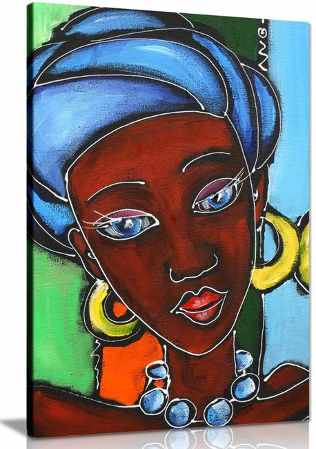 African Art Women with Wild Leopard Painting Canvas Wall Art Squidward Paintings Abstract Modern Style Decoration for Living Room Bedroom 8x12inch