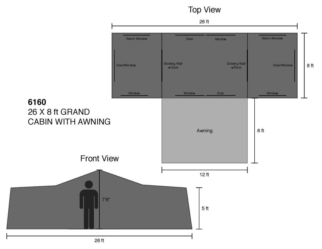 26 x 8 ft. Grand Cabin with Awning - Estimated Restock Date Dec. 9th, 2020