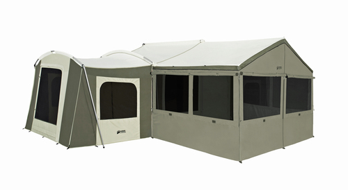 """Enhance your living space, or create the perfect leisure area with a wall enclosure for the 12x8 ft. deluxe awning on your cabin tent (model #6160). Made with polyester denier cloth. The bottom has a poly fringe """"sod cloth"""" to help seal out crawling critters. Six large screened windows offer openness and air flow. The no-see-um screen mesh keeps out the smallest bugs. Zip the windows down for privacy, or to batten down the hatches. Features a zippered front entry."""
