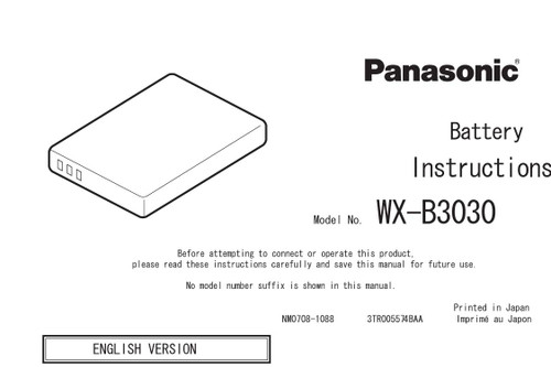 Panasonic Attune WX-B3030M Battery Operations Manual