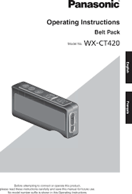 Panasonic Attune II WX-CH427 Headset Operating Instructions - Manual