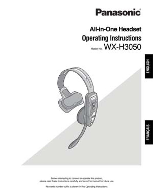 Panasonic Attune WX-H3050 [AIO] All-in-One Headset Operating Instructions Manual