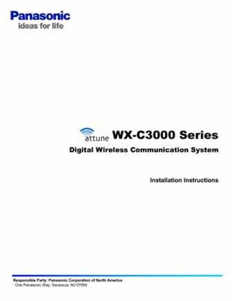 Panasonic Attune WX-C3000 Installation Instruction
