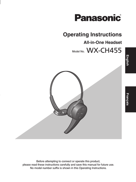 Panasonic Attune WX-CH455 Operating Instructions - AIO All-in-One Headset