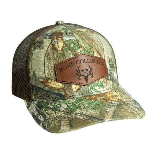 bone collector edge snapback leather hat front