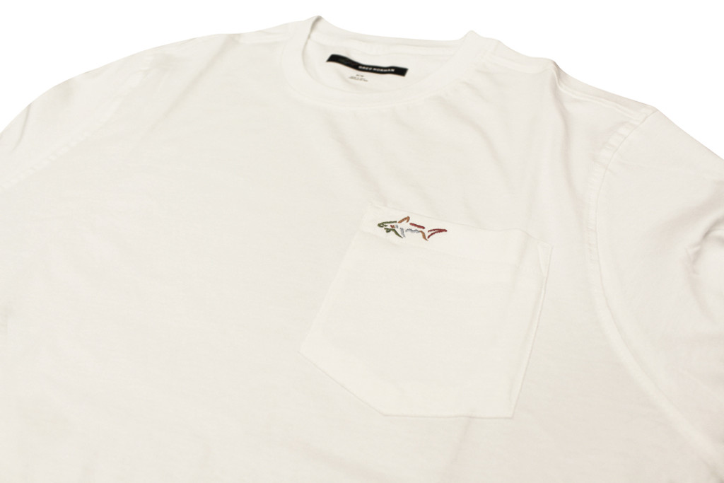 Chest Pocket Cotton Shark T-Shirt detail product shot