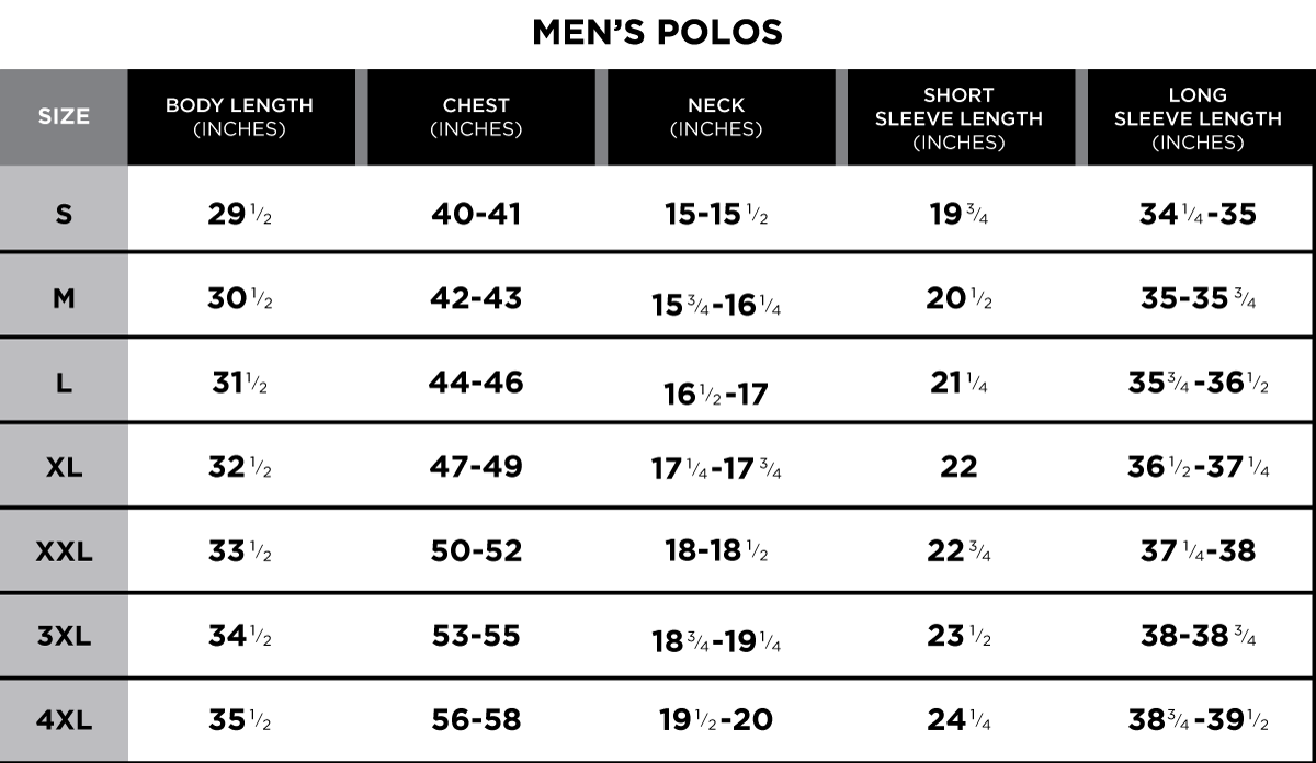 Size Chart | Greg Norman Collection