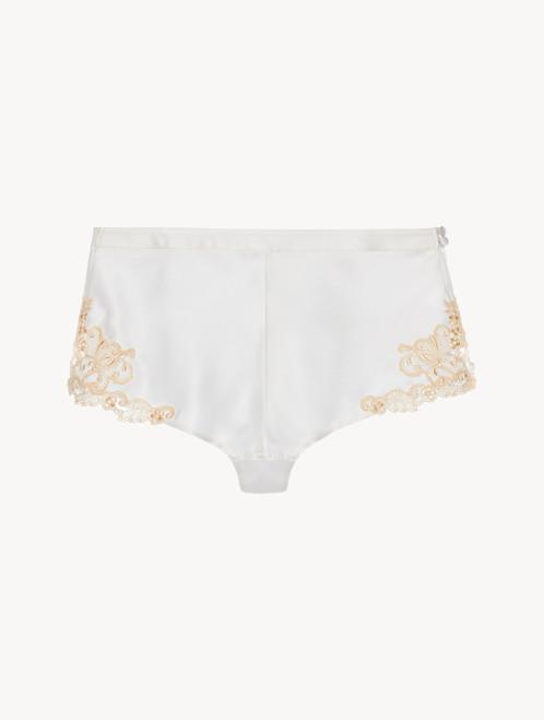 Shorts in Weiß mit Frastaglio-Stickerei