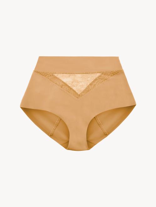 Hoher Slip Control-Fit in Nude aus Lycra® mit Chantilly-Spitze