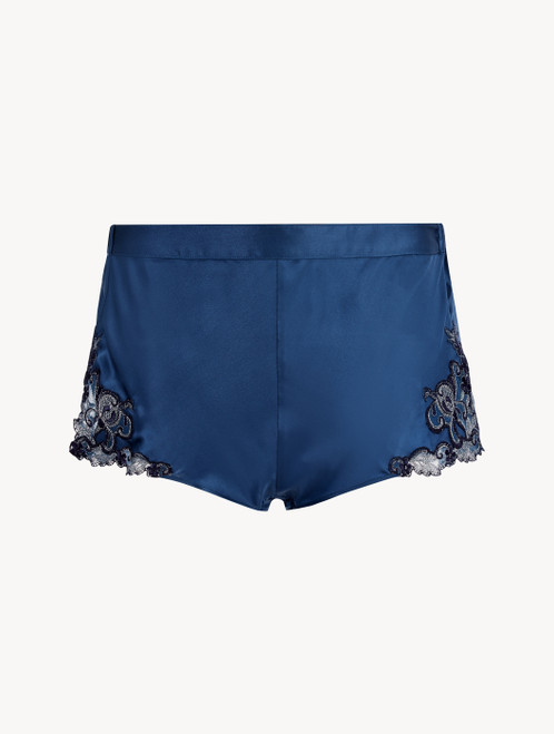 Shorts in Petrolblau aus Seidensatin mit Frastaglio-Stickerei