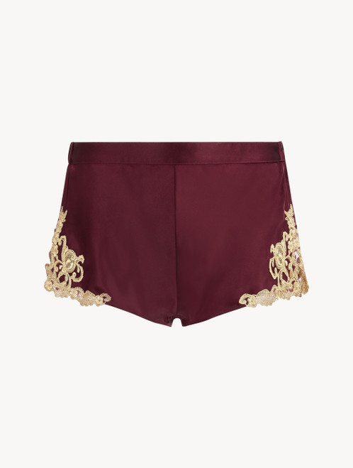 Shorts in Bordeaux aus Seidensatin mit Frastaglio-Stickerei