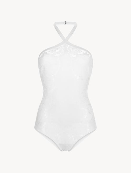 Body aus Seidengeorgette in Weiß
