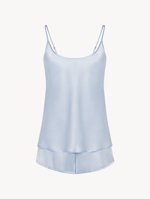 Kurzer Pyjama in Azurblau aus Seide