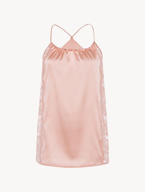 Shirt aus Seide in Rosa mit Nackenverschluss und Einsätzen aus Leavers-Spitze