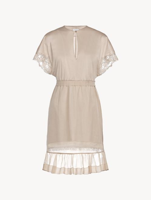 Nachthemd mit kurzem Arm in Hellbeige aus Baumwolle und Chiffon