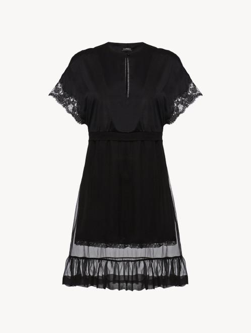 Nachthemd mit kurzem Arm in Schwarz aus Baumwolle und Chiffon