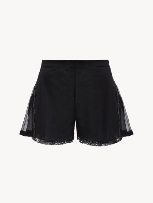 Shorts in Schwarz aus Baumwolle und Chiffon