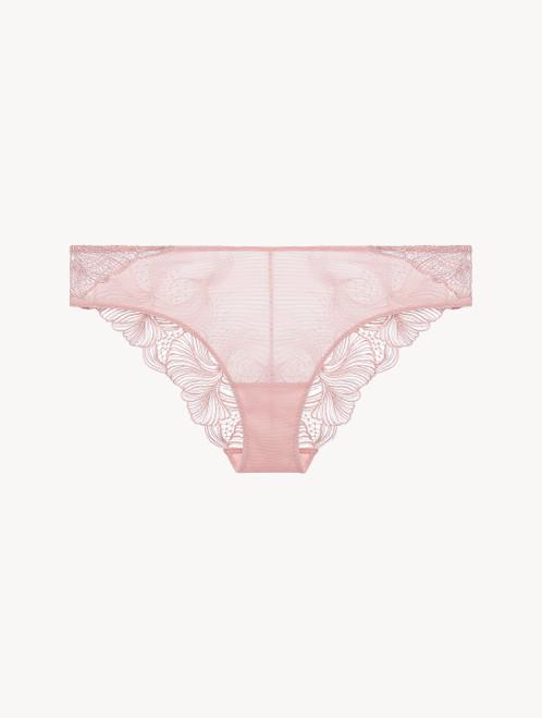 Mittelhoher Slip Stretchtüll und floralen Stickerei-Motiven in Rosa