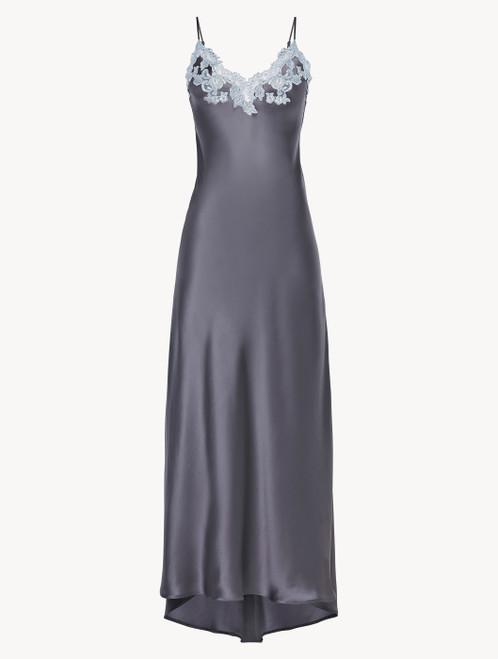 Langes Nachthemd in Grau aus Seide mit Frastaglio aus Lurexgarn