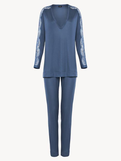 Pyjama in Kornblumenblau aus Modaljersey